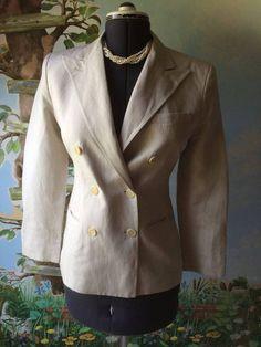 Ralph Lauren Women Beige Pinstripe Blazer Suit Jacket SZ 4 #RalphLauren #Blazer