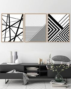Printable Art, Set of 3 Geometric Prints, Set of 3 Prints, Downloadable Prints, Black White, Posters, Wall Art, Prints, Art, Geometric Lines  THESE ARE INSTANT DOWNLOADS – Your files will be available instantly after purchase. Please note that this is a digital download ONLY, no