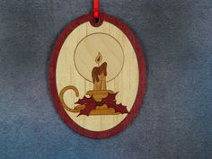 Wood Inlay Christmas Ornament - Candle by EzMarquetry on Etsy