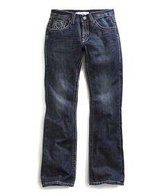 Blue Multi-Stitched Curved Jeans - Men's Regular