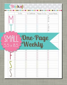 Small Printable One Page Weekly  Sized 5.5 x by PolkaDotPosiePrint, $2.50