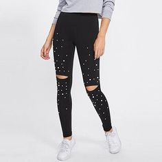 e3cccc3fc2d Romwe Sport Pearl Beading Knee Open Leggings 2018 Autumn Mid Waist Capris  Trousers Women Cut Out