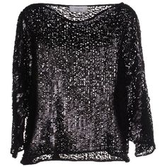 Axara Paris Blouse ($33) ❤ liked on Polyvore featuring tops, blouses, black, three quarter sleeve blouse, 3/4 sleeve tops, sequin top, sequin blouse and sequin embellished top