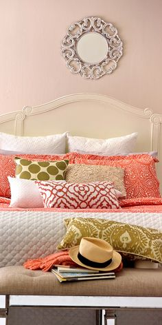 Bring your bedroom to life with beautiful bedding! If you are looking for something that really wows and has a great pop in a room, why not try something unexpected but amazing like this coral color?