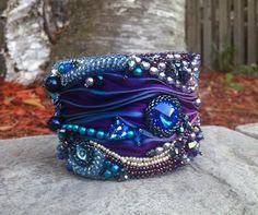 OOAK Bead Embroidered Cuff-Etsy Bead Embroidery Guild Beadfest- Swarovski Rivolies-shades of blue and purple, shibori ribbon