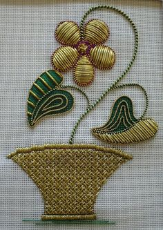 Golden Petals ~ goldwork embroidery class project by Toni Gerdes Needlearts Bullion Embroidery, Zardosi Embroidery, Kurti Embroidery Design, Hand Embroidery Dress, Gold Embroidery, Japanese Embroidery, Embroidery Hoop Art, Hand Embroidery Designs, Embroidery Stitches