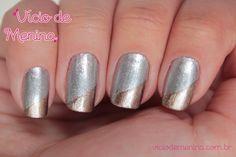 Nail Art Espanhola - Prata e dourado