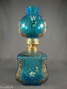 Antique Blue Translucent Glass Embossed Miniature Oil Kerosene Lamp L K | eBay