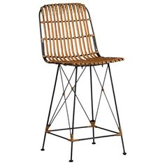 """The Devi Counter Stool by Dovetail is part an eclectic range of handmade furniture, accessories and textiles.    Kubu rattan seat honey brown finish  Black finished metal frame  Seat height 24"""""""