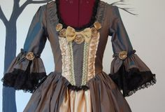 Green to Brown Silk and yellow satin Steampunk Goth by hhfashions, $245.00