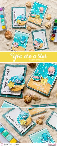 Hi, we instantly jumped from spring to summer so I decided to make a summer themed card. It was no question that I will use Lawn Fawn underwater creatures stamps. You are a Star Year Six You Octopi my Heart Pink and Papershop Atc Cards, Paper Cards, Card Making Inspiration, Making Ideas, Paper Crafts Magazine, Nautical Cards, Beach Cards, Lawn Fawn Stamps, Up Book
