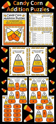 Candy Corn Addition Puzzles: This colorful Halloween packet utilizes the favorite Halloween candy to reinforce basic addition facts from 0 to 12. Packet includes both color and b/w versions of all pages.  Contents include: * Halloween Candy Corn Puzzle Pieces For Addition Facts From 0 - 12 * Halloween Candy Corn Addition Work Mat Template * Halloween Candy Corn Addition Student Record Sheet