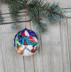 Christmas tree ornament large felted Christmas ball by filcAlki