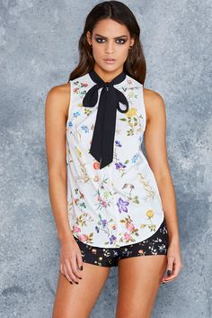 Wild Fields White Bow Time Shirt - LIMITED ($80AUD) by BlackMilk Clothing