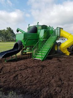 Towns and Nature: Peoria, IN: Wendel Farm's Combine Shaped Playground Equipment – Axel Mustermann – Cat playground outdoor Kids Outdoor Play, Outdoor Play Areas, Kids Play Area, Outdoor Fun, Outdoor Office, Kids Backyard Playground, Backyard For Kids, Backyard Games, Playground Ideas