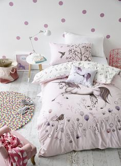 Adairs Kids Unicorn Dreaming Quilt Cover Set ♥ Discover the season's newest designs and inspirations. | Visit us at http://kidsbedroomideas.eu/ #furnituredesign #kidbedroom #kidsroom #kidfriendly #bedroomdecor #bedcovers
