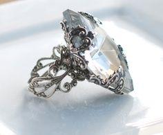 Swarovski Crystal Weiss Rhinestone RingVintage by PursesonalStyle, $48.00