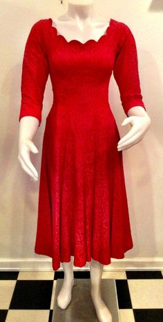a2ae8ba2bee2 Jonny Herbert Original red lace dress scalloped neckline Christmas dress  holiday party dress red floral lace extra small size