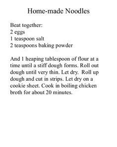 Recipes   Home-made Noodles