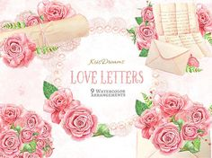 Valentine Love Letter Watercolor Clip Art Arrangement