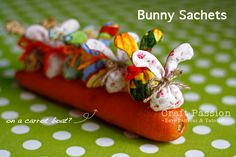 Bunny Sachets - another crafter had the idea to leave it open between the ears & stuff with jellybeans instead :)