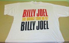 Vntg 80s  BILLY JOEL  Concert Tour T Shirt XXL 2XL - 86/87 BRIDGE TOUR - 50/50…