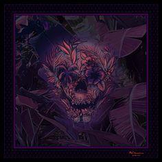 Island of Death, a Designer Silk Scarf by BCbandana