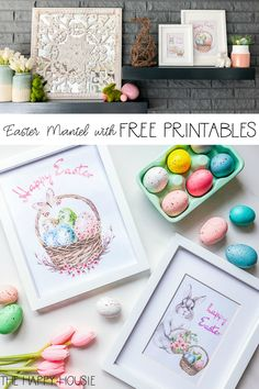 Simple Easter Mantel Decor with Free Printable Easter Art Easter Projects, Easter Crafts For Kids, Diy Projects To Try, Easter Ideas, Easter Printables, Free Printables, Easter Art, Easter Decor, Wooden Box Centerpiece