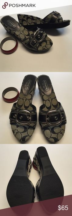 COACH Signature Jacquard Gretta Wedge Sandals COACH Signature Black/Gray Jacquard Gretta Wedge Sandals Slides Shoes Size 8.5B. Excellent used condition. There some scuffs on the left shoe as seen in the photo. Box not included. Reasonable offers are welcome. Coach Shoes Sandals
