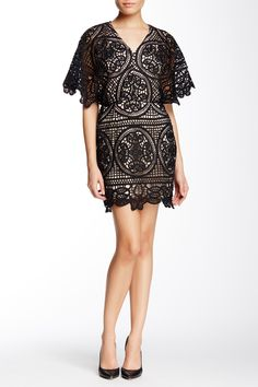 Lace Yoke Butterfly Sleeve Cocktail Dress by Soieblu on @nordstrom_rack