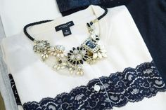 Ann Taylor has given a sneak peek at their winter 2013 collection.  It is all black/white :). I love this necklace.