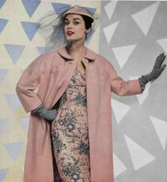 1954 House of Jacques Fath pink floral wiggle dress blue jacket grey gloves hat 50s designer couture fashion vintage style color photo print ad model magazine