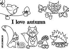 herfst kleurplaat - Google zoeken Coloring Pages, Crafts For Kids, Doodles, Autumn, Teaching, Comics, My Love, Prints, Poster