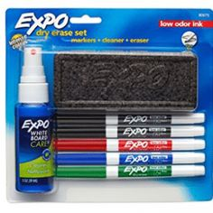Expo Dry Erase Set, Fine Tip, - Multicolor Ink, Multi-Colored Liquid Chalk Markers, Dry Erase Markers, Cleaning Spray, Cleaning Kit, Dry Erase Calendar, Cute Notebooks, Starter Set, Office And School Supplies, School Supplies