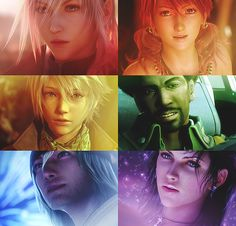 Final Fantasy XIII. Lightning, Vanille, Hope, Sazh, Snow, Fang