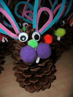 My Pinecone Easter Bunnies. Made from pinecones from my neighborhood and dollar store craft supplies