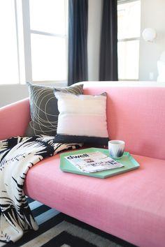 Bedroom Makeover - Geometric Décor - Pink Sofa | Teen Vogue