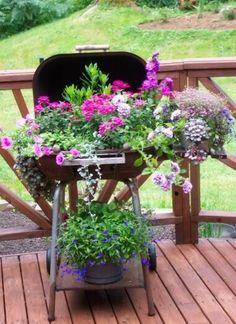 old bbq planter