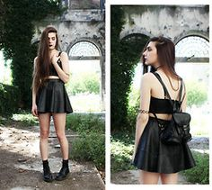 Holynights Claudia - Minkpink Leather Bralet, Asos Leather Skater Skirt, Etsy Leather Backpack, Dr. Martens Docs - You have never been in love