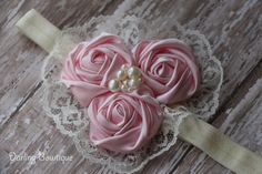 Pink and Ivory Rosette Lace Elastic Headband by darlingbowtique, $12.29