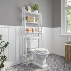 Hoschton Ladder Spacesaver 25 W x 62 H Over the Toilet Storage Bathroom Wood Shelves, Toilet Shelves, Bathroom Furniture, Small Bathroom Storage, Bathroom Cabinets Over Toilet, Bathroom Interior, Over Toilet Storage, Over The Toilet Ladder, Decorating Bathrooms