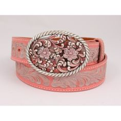 Embossed Oak Leaf Pink Belt