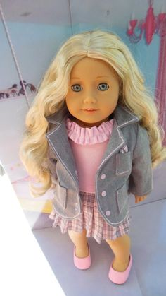 AMERICAN GIRL Pink / gray 3 piece plaid ensemble by TheDollyDama, $24.00
