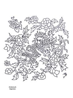 chinese dragon snd flowers adapted from an old ceramic tile