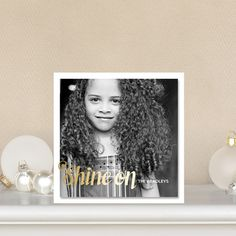 Magical Mount - Holiday Photo Cards feature a bright marigold yellow font.