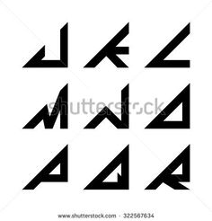 J-R Triangle shapes alphabet letters. font, logo, symbol, icon, graphic, vector