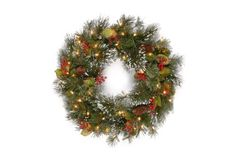 National Tree 24 Wintry Pine Wreath with Cones Red Berries Snowflakes and 50 Clear Lights WP130024W * To view further for this item, visit the image link.