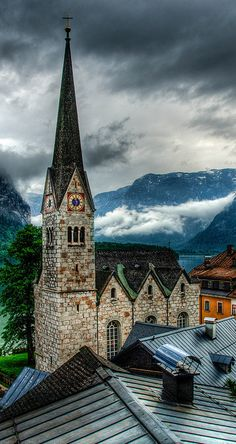 Hallstatt, Austria ... the beautiful little lakeside town south of Salzburg where the lake is black from being surrounded by mountains