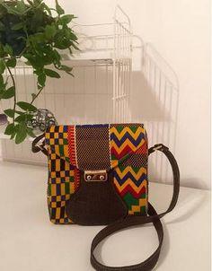 Brown Denim Kente Square Bag
