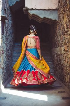 Colorblock wedding lehenga , turquoise and red , blue red and yellow lehenga…